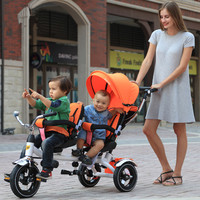 2 seats kids tricycle for Twins / Rotate seat tricycle for twins / baby tricycle with canopy
