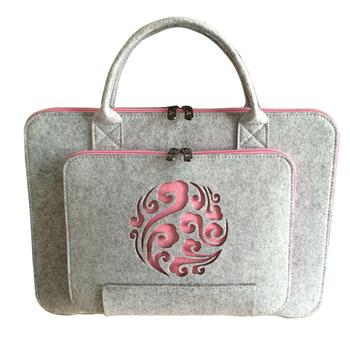 29479c30d8ee Мода Сумка 2018 полый цветок Дизайн Пользовательский логотип экологичный  Ручной войлок Сумка для ноутбука женские сумки