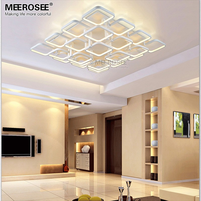 Vierkante LED Kroonluchter Verlichting Opbouw Wit Acryl LED Lamp ...
