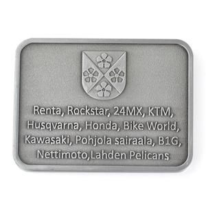 Rectangle shape custom antique silver plated souvenir metal coins