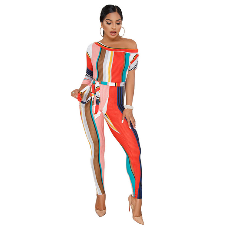 2018 Fashion womens bodycon sexy lange pant streep dames formele jumpsuit