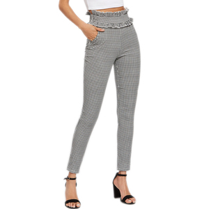 Custom Ladies Elegant Frilled Waist Black and White Gingham Pants