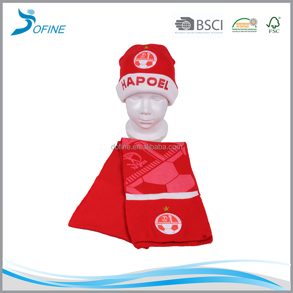 Wholesale Emboridery rubber print sublimation satin patch logo acrylic kids fan winter beanie knitted hat and scarf sets