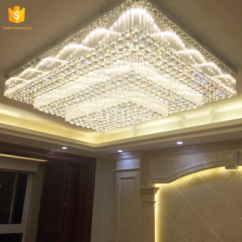 Size Square Modern K9 Led Crystal Chandeliers Hotel Lobby Engineering Chandelier Lighting