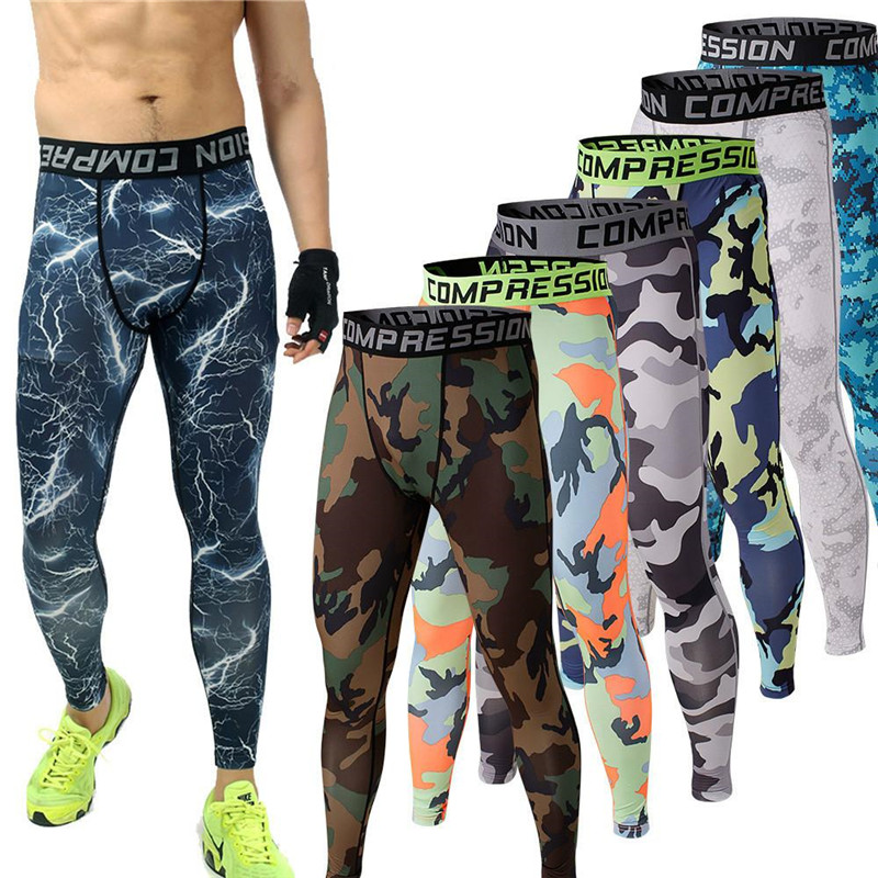 5a86311d9cd605 Mens Running Camo Base Layer Compression Tights Long Pants Sport Basketball  Training Leggings Mens Gym Wear