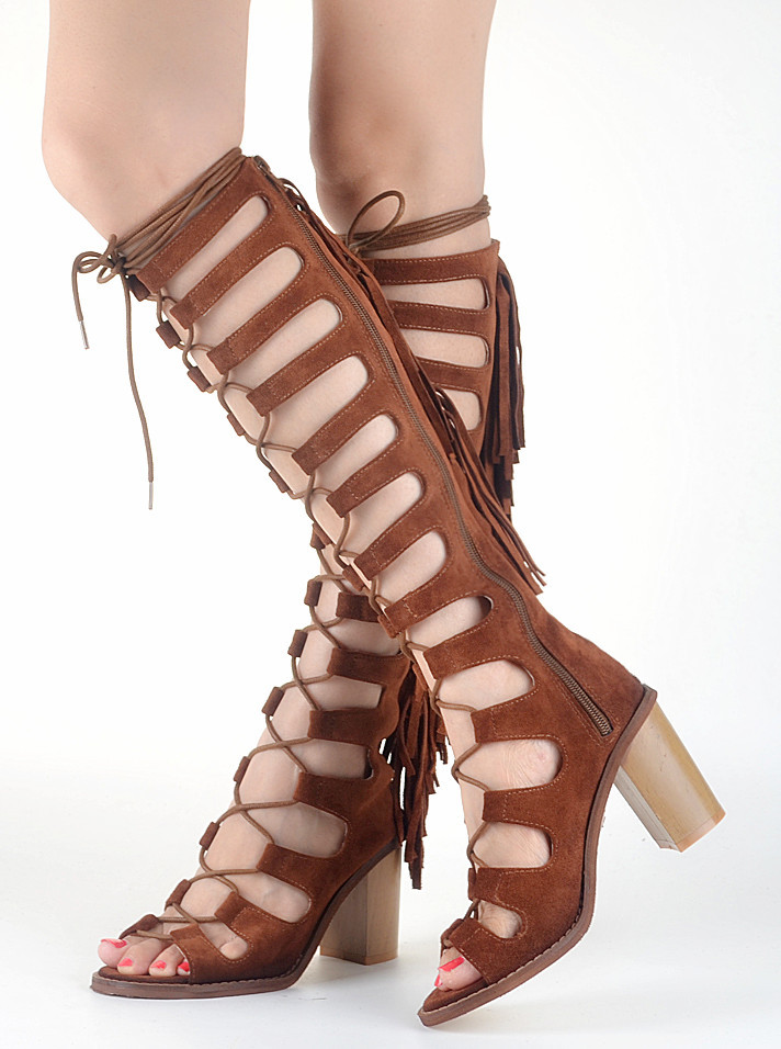 210937fc5fc6 Get Quotations · Hot Summer Genuines Leather Shoes Woman Boots Peep Toe Cut  Out Fringe Chunky Heels Bottine Femme