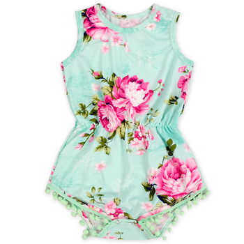 New Designs Boutique Girls Toddler Clothing Aqua Print Sleeveless Baby Clothes Romper Set