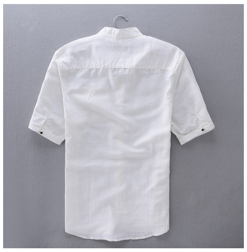 ed70d7df969 French Style Brand Shirt Men Linen Summer Short Sleeve Casual Men Shirt  Fashion Solid Shirts Mens Business Clothing Mens Shirts
