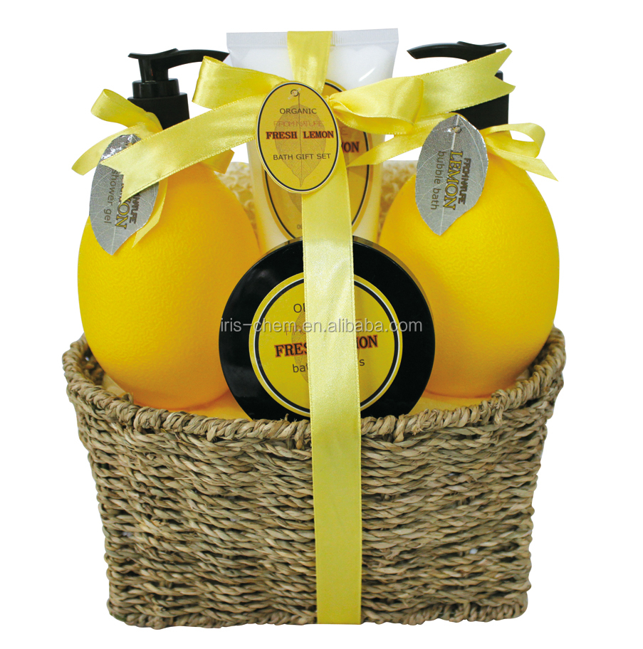 OEM/ODM factory bath gift sets supplier lemon spa gift set shower gel bubble bath body lotion