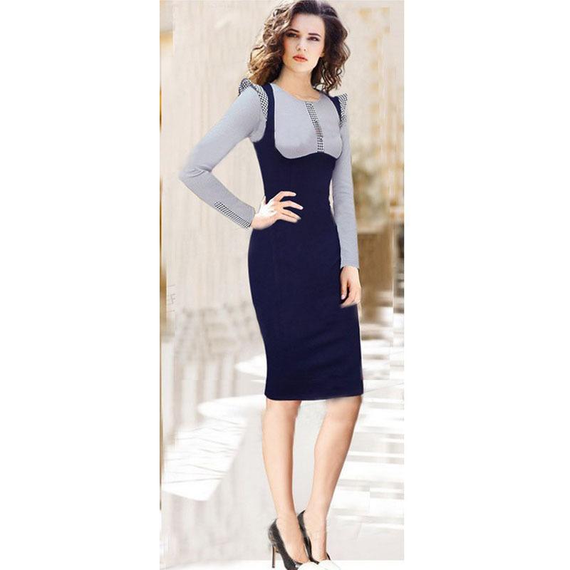 b346f8c5b838 Get Quotations · 2015 New Womens Elegant Rockabilly Long Sleeve Colorblock  Tartan Casual Work Wear Office OL Slim Bodycon