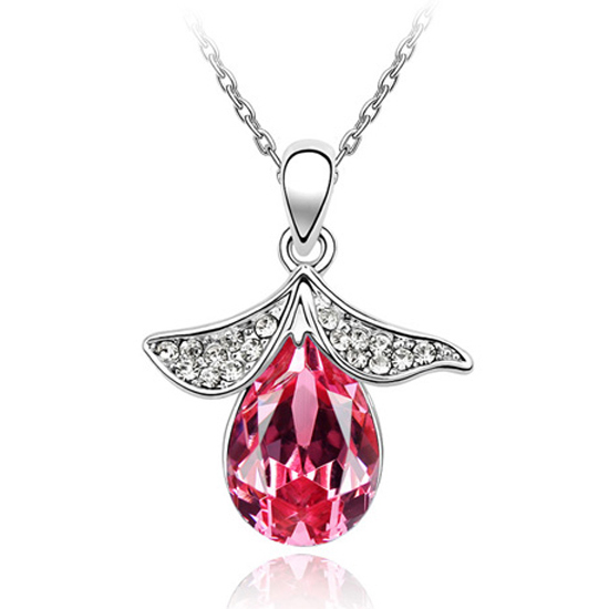 Free shipping teardrop flower necklace Crystal From Swarovski MURTOO