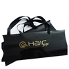 Custom gold lolgo extension hair packaging black pillow box for 3-4 bundles hair boxes