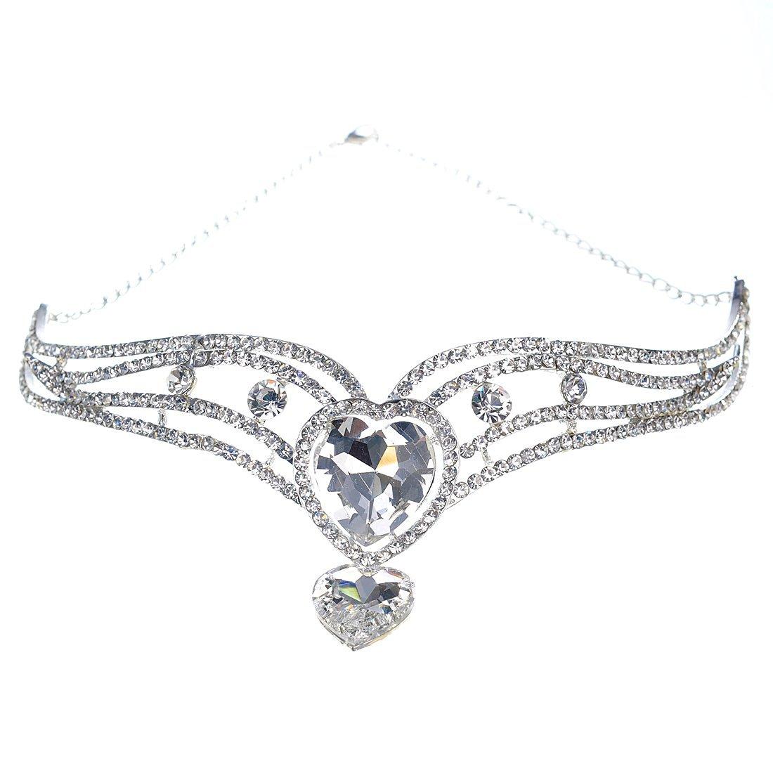Topwedding Crystal Wedding Rhinestone Bridal Tiara Wedding Headpiece forehead Chain