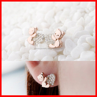 rose gold cute panda with cz heart girl 925 silver earring