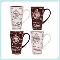Wholesale tall ceramic latte mugs cafe style coffee cups 16 oz