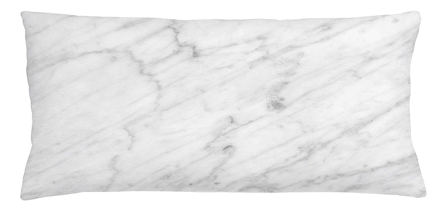 Ambesonne Marble Throw Pillow Cushion Cover, Carrara Marble Tile Surface Organic Sculpture Style Granite Model Modern Design, Decorative Square Accent Pillow Case, 36 X 16 Inches, Dust Grey White
