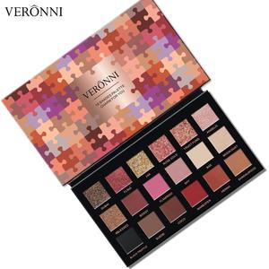 Good Quality Cosmetics VERONNI 18 Colors Jigsaw Shimmer Eyeshadow Palette Make Up Imported Wholesale Makeup Matte Eye Shadow