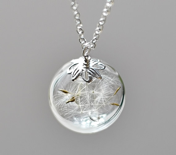 Botanical Make A Wish Glass Bead Orb Dandelion Necklace