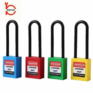 Wenzhou brand long shackle hot sale safety padlock abs security lockout red padlock