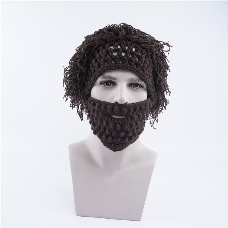 0265690f7f6 2019 Funny Brown Crazy Beard Wig Hats Handmade Knit Warm Winter Caps hats