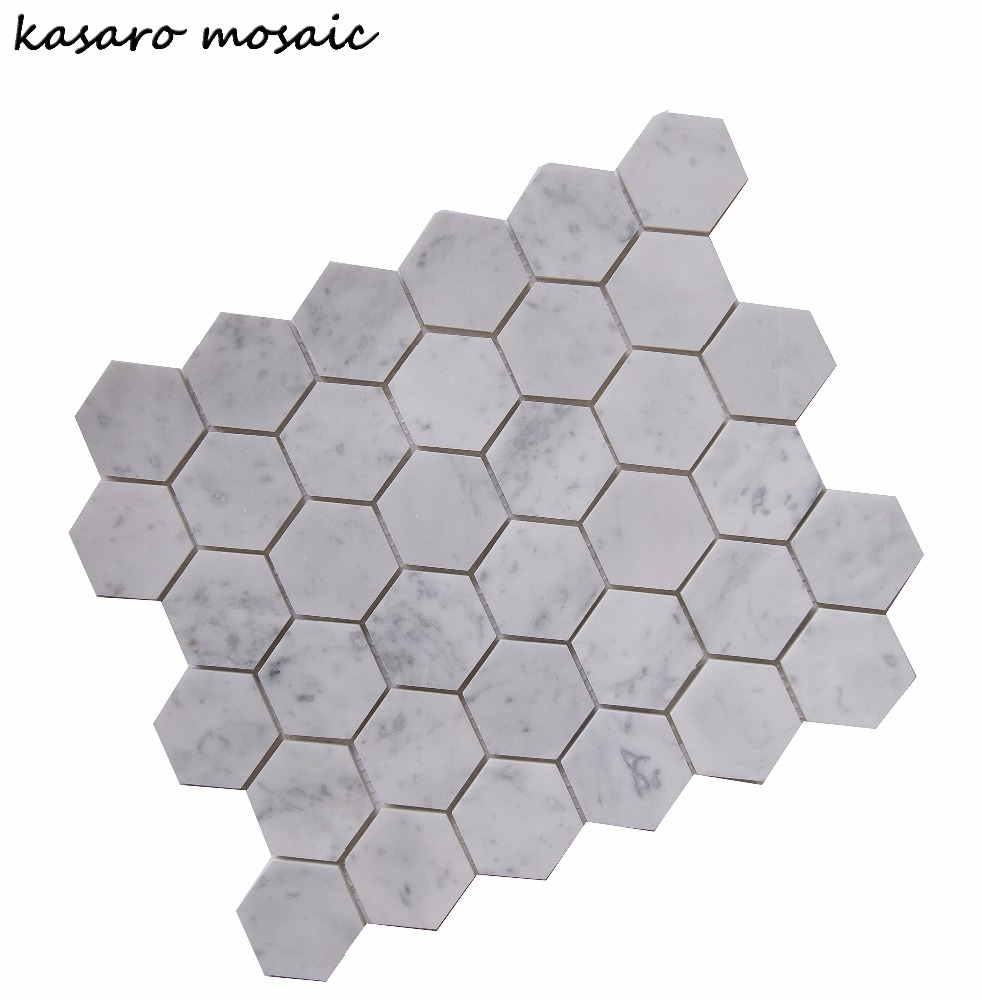 Hexagon Carrara White Mosaic Stone <strong>Tiles</strong> And Marbles Stone <strong>Tiles</strong> For Flooring Hexagon Shape Mosaic For House Decor