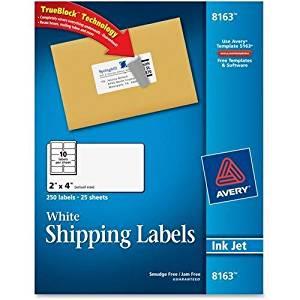 """8163 Avery Address Label - 2"""" Width x 4"""" Length - 250 / Pack - Rectangle - 10/Sheet - Inkjet - White"""