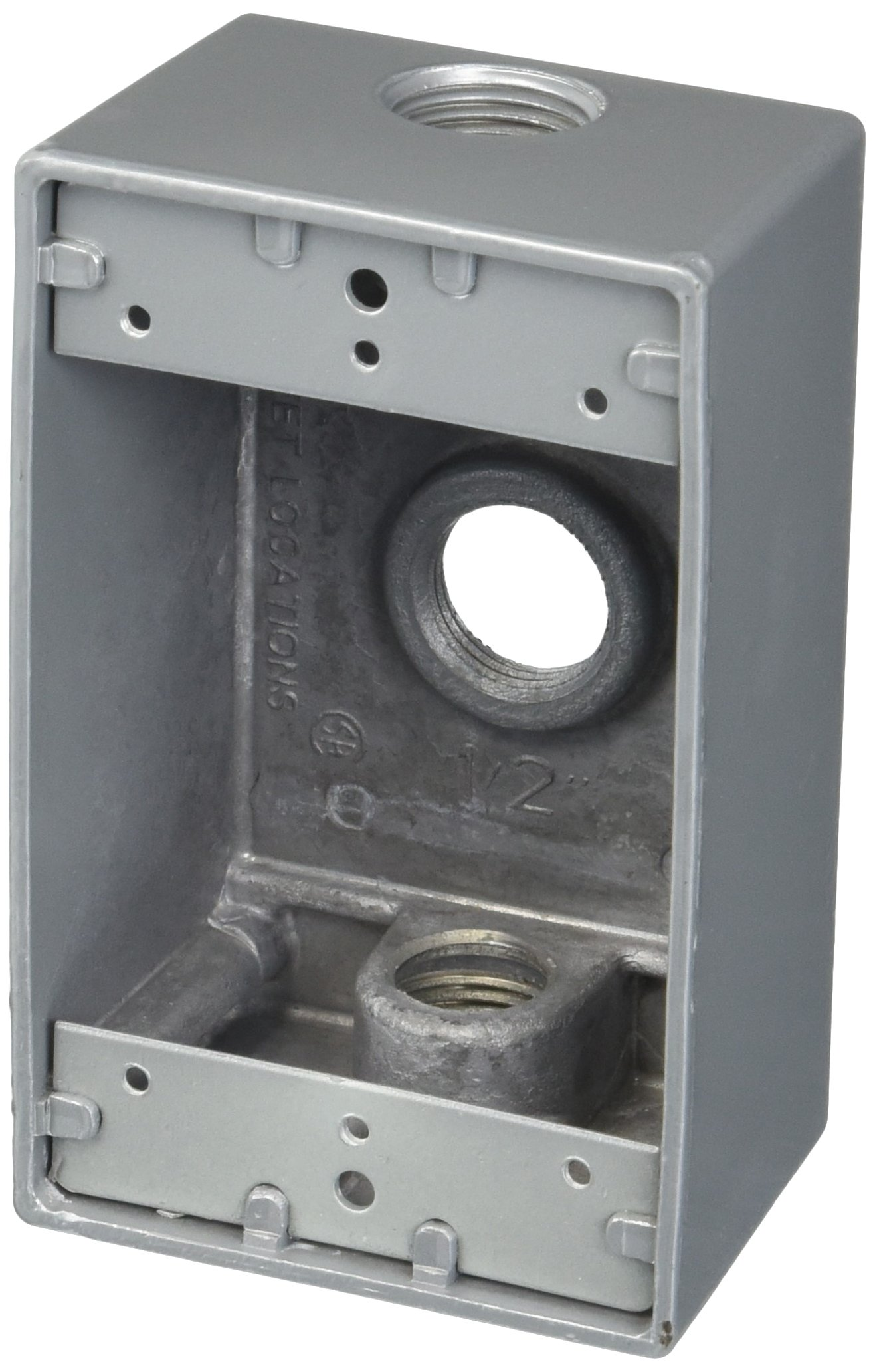 """Red Dot IH3-1 Red Dot, 1-Gang 17.3"""" Universal Weatherproof Box with Three 1/2"""" Holes, Silver"""