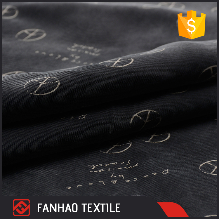 Good quality Chinese black woven printed twill 100% cupro fabric