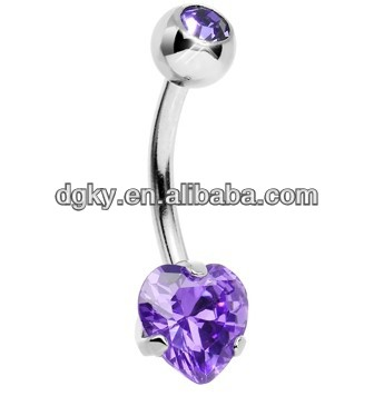 Neon Titanium Prong-Set CZ Heart Belly Ring