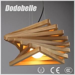 modern industrial Three-dimensional Visual Arts style twist Cube wooden pendant light