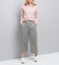 Nieuwe Mode Zwarte Check Hoge Taille Cropped Vrouwen <span class=keywords><strong>Broek</strong></span>