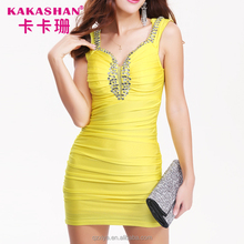 Plus Size Diamond Yellow Short Tight Porn Women Sexy Bodycon Evening Dress