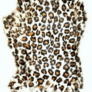55x110cm Real Plucked Leopard Print Dyed Rabbit Fur Skin Hide Plate for Garment Home Textile Use