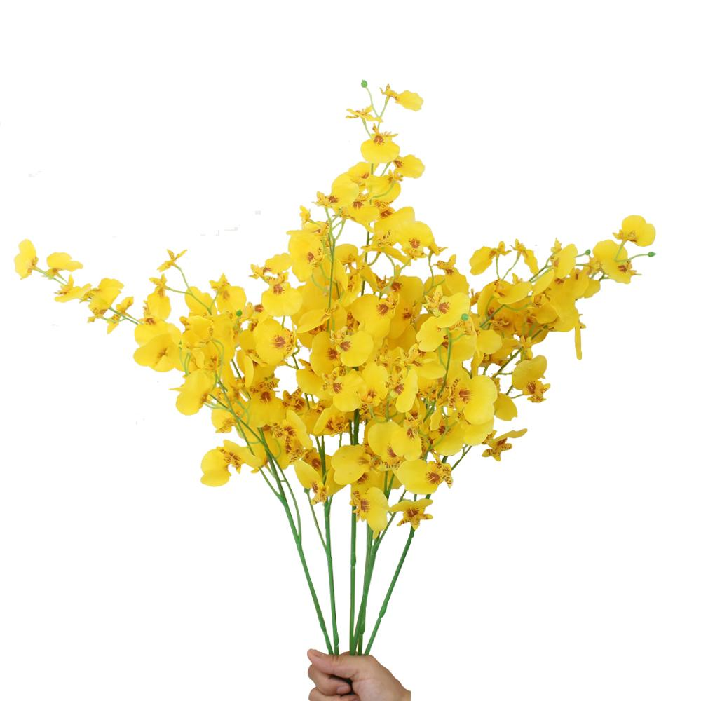 66cm 4branches 32pcs <strong>flowers</strong> yellow artificial latex orchids <strong>flowers</strong> wedding home office decoration festive furnishing