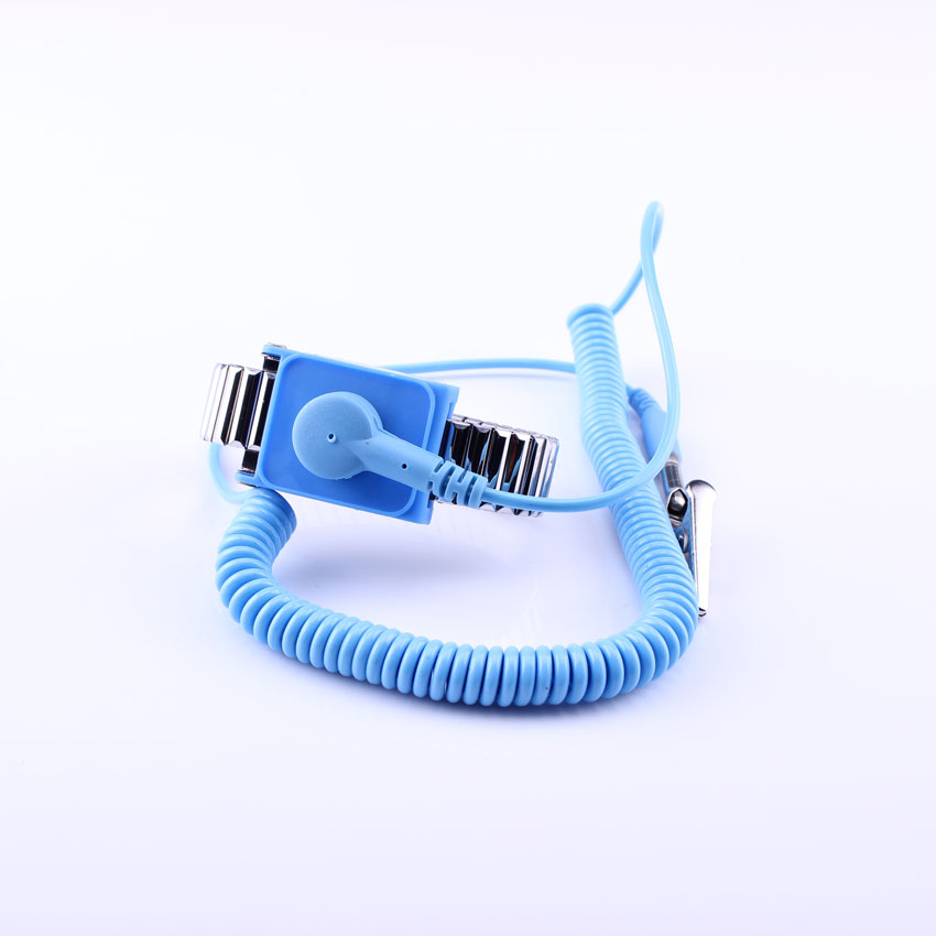 Wholesale ESD Metal Wrist Strap / Wrist Band With Blue PU Rope