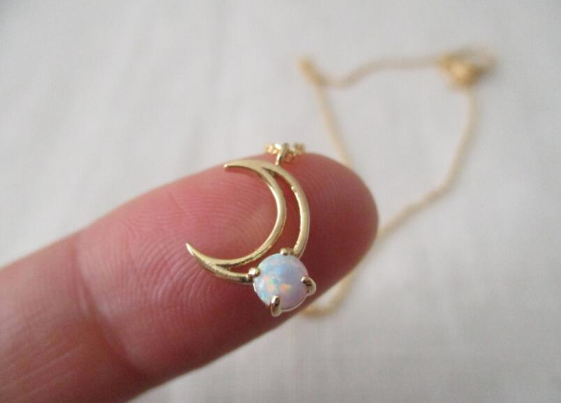 Beautiful Ladies Women Fancy Stone Birthstone jewelry Moon Opal Earrings