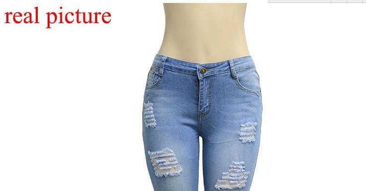 QA881 Boutique elastic cotton hole boyfriend pencil denim jeans girls low waist vintage skinny pants women