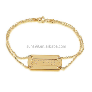 New Design Fashion Personalized Bracelet 24k Gold Plated Braille Bar Bracelet With Double Chain