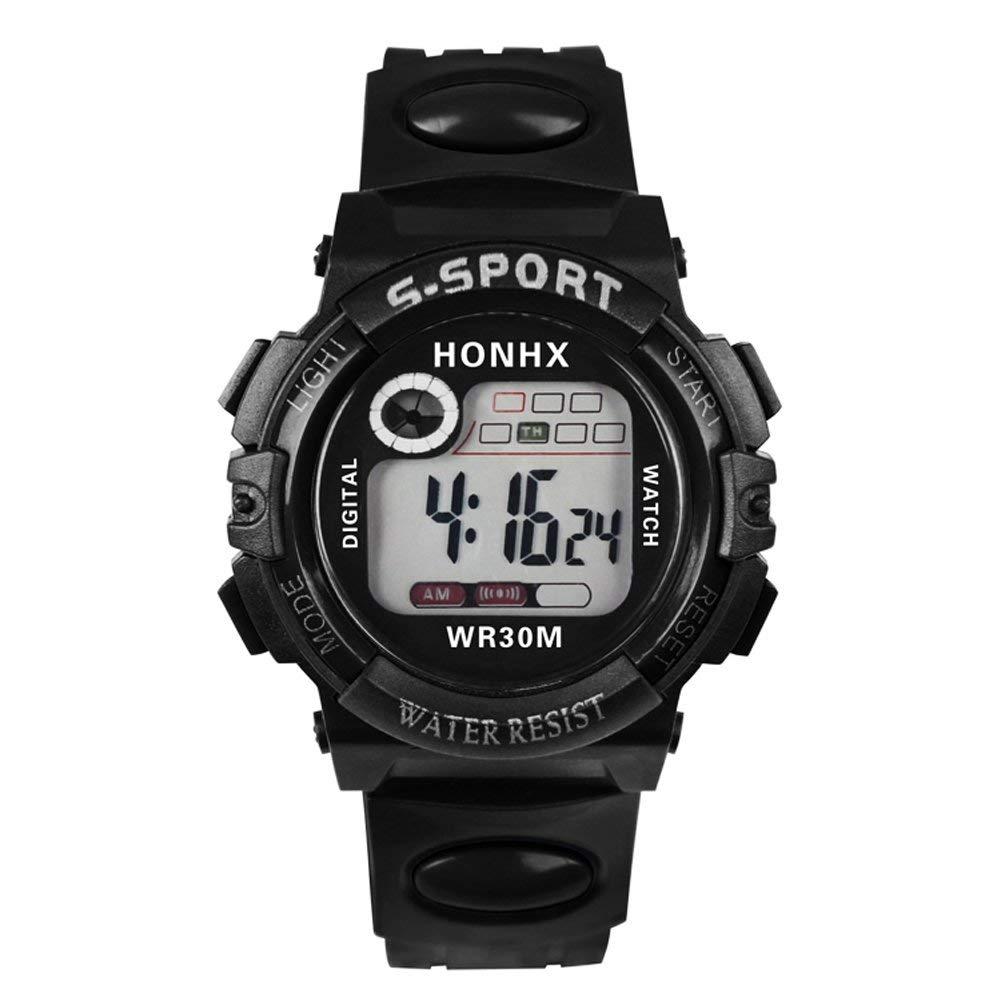 UNIhappy Multifunction Digital LED Quartz Alarm Date Sport Waterproof Watch (Black)
