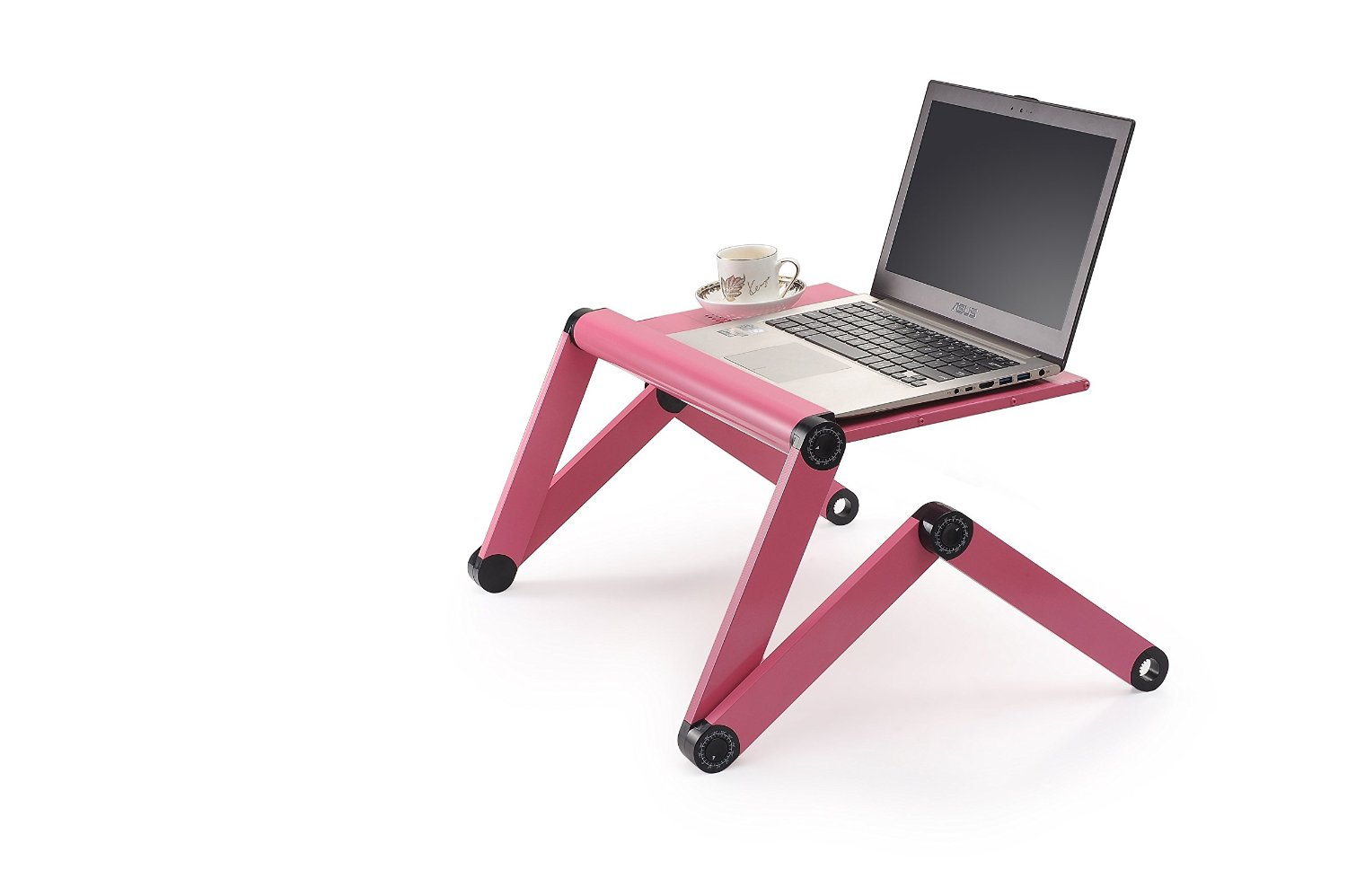 Adjustable Vented Laptop Table Laptop Computer Desk Portable Bed Tray Book Stand Multifuctional & Ergonomics Design Dual Layer Tabletop (Red)