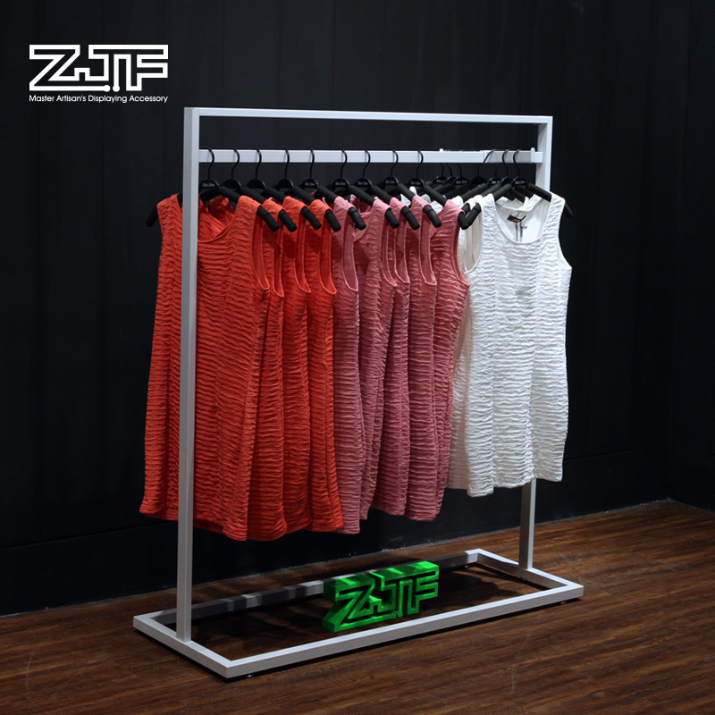 Functional brand shop fixtures free standing hanging clothes rack display for retail store