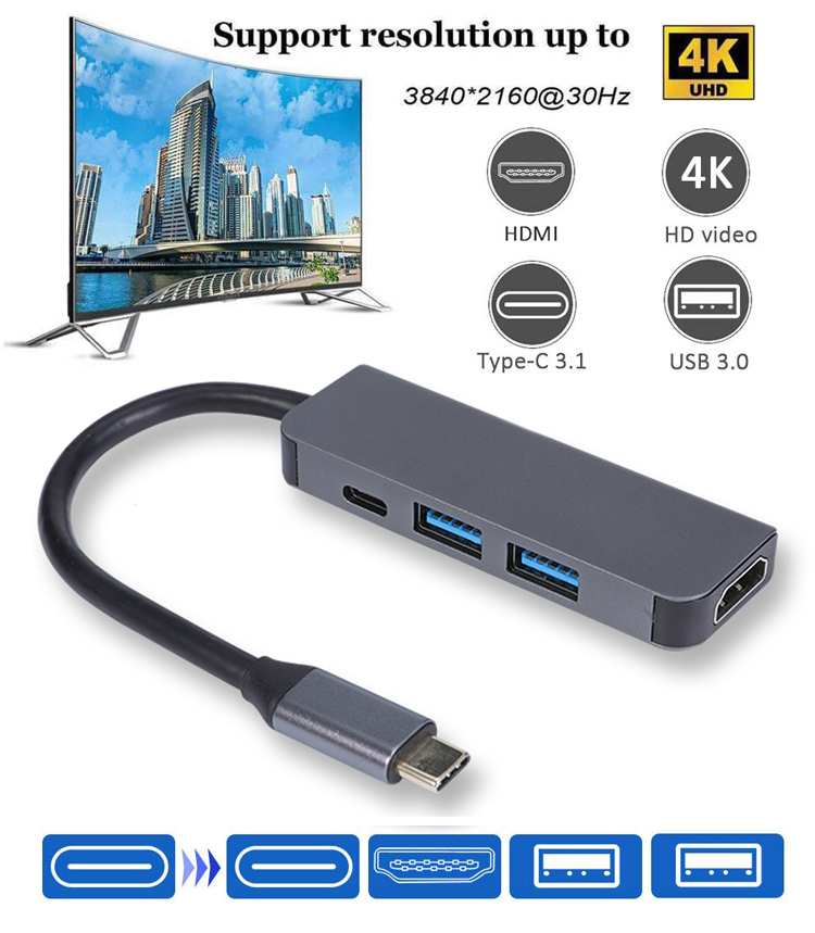 High Speed 4K 30HZ 4 port aluminum 4 in 1 USB 3.1 type-C HUB with HDMI / USB C / 2 USB-A Port