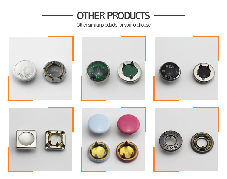 Fashion decorative colored metal snaps fasteners buttons for clothes