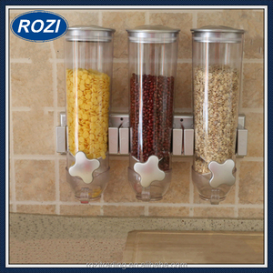 Dry Food Dispenser Triple Control Cereal Pasta Rice Kitchen Counter Top Storage
