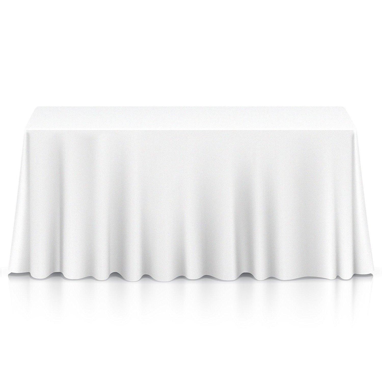"Lann's Linens - 20 Premium 90"" x 132"" Tablecloths for Wedding/Banquet/Restaurant - Rectangular Polyester Fabric Table Cloths - White"