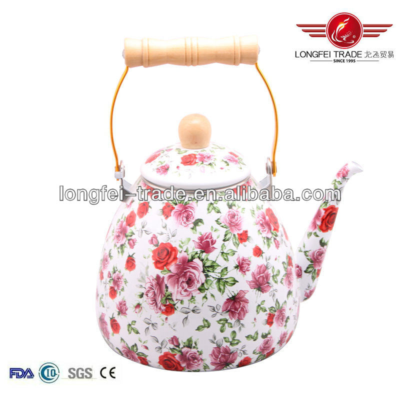 full flower decal unique decorative enamel tea kettle with wooden handle