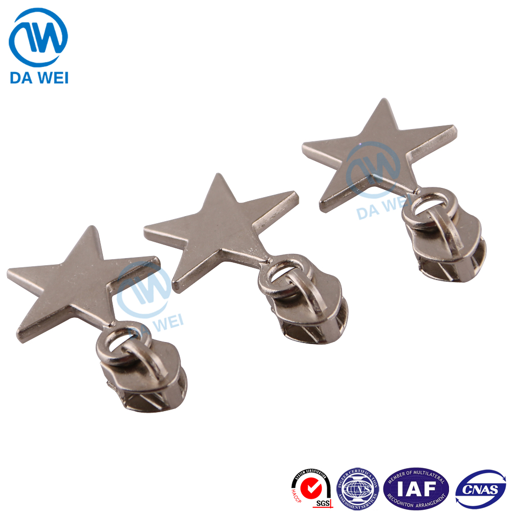 DAWEI brand fancy zipper slider Five-pointed star shape pulls bag metal zipper slider