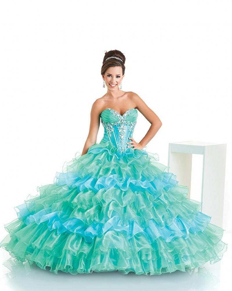 ccecd5d154c Get Quotations · Fashion Trend Organza Ruffled Sweet 16 Vestidos De  Quinceanera Dresses Ball Gown Blue Turquoise Quinceanera Dresses