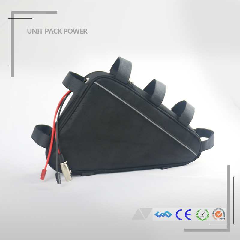 Wholsale price triangle bag bicycle batterie 36v 17ah lithium battery fit 250W 500W motor