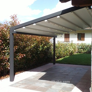 Motorized cheap metal terras pergola with led lighting